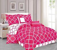 Galaxy 7-Piece Comforter Set Reversible Soft Oversized Bedding White & Hot Pink