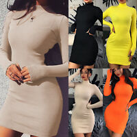 Women High Neck Long Sleeve Mini Jumper Dress Slim Sweater Pencil Short Bodycon