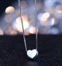 Elegant! 925 Sterling Silver SP Super Adorable *Love Heart* Pendant Necklace