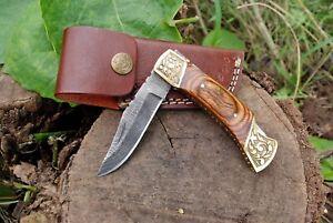 "Custom Handmade Damascus Steel Pocket Knife Folding Blade Wood Handle Hunting 7"""