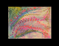 ABSTRACT Sea Flowers = Miniature Original ART PASTEL DRAWING = C Peterson ACEO 2