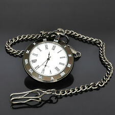 New Open Face Black Analog Quartz Mens Pocket Watch with Chain X44