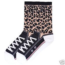 K.Bell Flip Cuff Leopard Print Brown Black Ladies Womens Crew Socks New