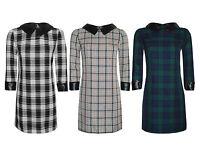 Ladies Womens Tartan PVC PU Peter Pan Collar Trim Bodycon Tunic Stretch Dress