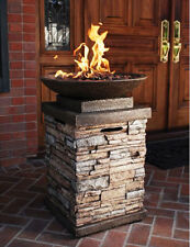 Newcastle Firebowl Gas Fire Pit Natural Stone Outdoor Pillar Warm Cozy Relax