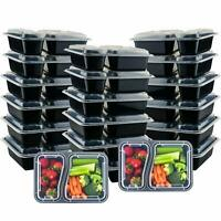 Meal Food Prep Containers Storage Bento Lunch Box Plastic Compartment Lids 20pcs