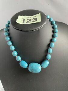 Vintage Designer Large Art Deco Flapper Turquoise Bead Necklace G123