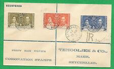 Seychelles 1937 Registered FDC Coronation KGVI & QE VICTORIA 12 May