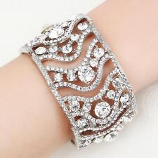 Elegant Rhinestone Silver Crystal Bridal Bracelet Wedding Beaded Jewellery Chain