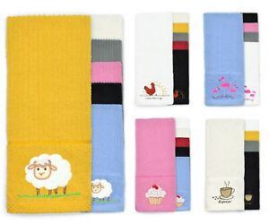 Kitchenware Large Tea Towels Dry Cloths Farm Animals Cotton Grey Ochre Cupcakes