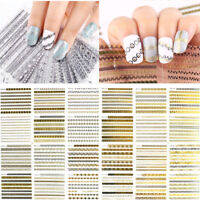 3D Nail Art Stickers Manicure Tips Mix Design Decals Water Transfer 12Sheets HOT