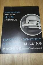 Vtg Hanson-Whitney Co Catalog~4x9 Thread Milling Machine~Tool Brochure