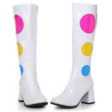 "Womens 3"" polka dot gogo dancer white knee boots"