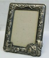 Vintage Pewter Sweet Baby Bassinette Rocking Horse Picture Photo Frame Holds 4X6