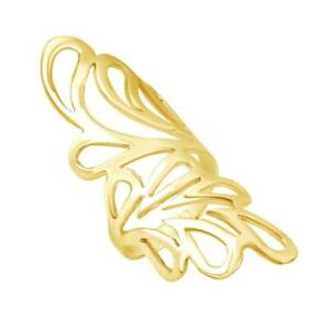 Aflutter Shiny Long Leaves 14K Yellow Gold Over Sterling Silver Ring For Women's
