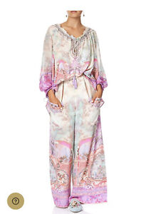 Camilla Silk Wide Leg Pants With FRONT POCKETS ELECTRON LIBRE NWT. L