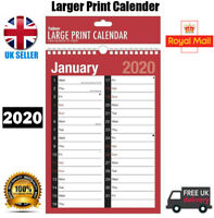2020 A4 Extra Wide 2 Column Month To View Spiral Bound Wall Planner Calendar