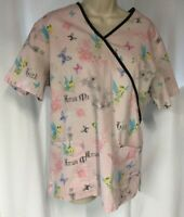 The Wonderful World of Disney Womens Scrub Top Size M Med Tinkerbell Fairy Pink
