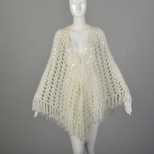 OSFM Ivory Poncho Open Crochet 1960s Hippie Boho Bohemian Fringe Shawl 60s VTG
