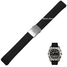 20Mm 21Mm T013420A Watch Band T-Touch Ii Expert Black Silicone Rubber Strap New