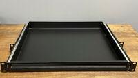 """19"""" Rack Mount Accessory Drawer 1U Variable Depth 15-20"""" Black Steel"""