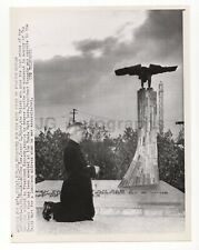 Oscar Huber Prays at JFK Monument - Vintage Wire Service Photograph