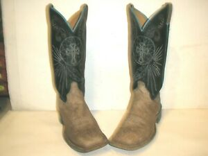 WOMENS JUSTIN SQUARE TOE LEATHER WESTERN COWBOY BOOTS SIZE 9