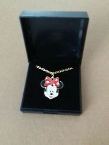 MINNIE  MOUSE GOLD TONE AND ENAMEL NECKLACE. GIFT BOXD.