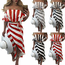 AU Women Off Shoulder Ruffle Frill Dress Skirt Summer Party Striped Crop Top Set