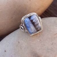 BLUE OPAL NATURAL GEMSTONE 925 STERLING SILVER HANDMADE JEWELRY RING 3 TO 12