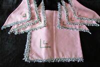 Pretty Vintage French Handmade Rose Pink linen Tea Cloth & 6 Napkins Lace Trim