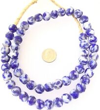 52 Made in Ghana White and Blue Recycled glass African trade beads-Ghana