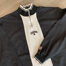 Champion Vintage Pullover Sweatshirt Adult XL Black White Quarter Zip 90s USA