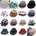 Fashion Children Boy Girl Flat Top Fedora Cap Sun Hat Jazz Dance Multi-style E57