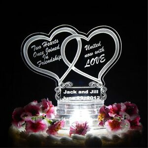 Double Heart Lighted Wedding CakeTopper Acrylic Custom LED Personalized Engraved
