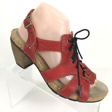 Wolky Fancy Me Lion Womens Red Leather Sandals Heels Shoes US 9.5M EUR 41 LaceUp