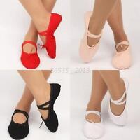 Child Adult Canvas Ballet Dance Shoes Slippers Kids Pointe Dance Gymnastics New