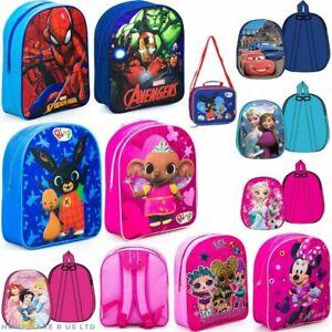 GIRLS BOYS CHILDRENS KIDS DISNEY SCHOOL BAGS BACKPACK RUCKSACK LUNCH TRAVEL 30CM