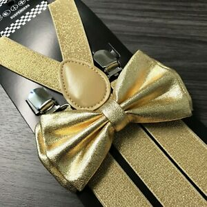 Metallic Gold Glitter Suspenders and Bow Tie Matching Set Wedding Prom Adult