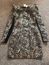 Nastygal Collection Gold Black Brocade Tapestry Puff Shoulder Dress Sz. XXS