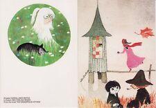 Moomin Finland Vintage Tove Jansson Mint Postcards (2) Dangerous Voyage RARE!