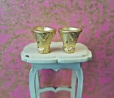 2 royal gold metal goblets cup chalice 1:24th scale dolls house king castle