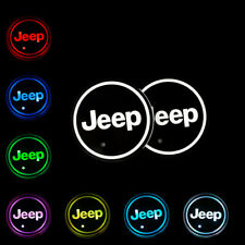 2Pcs Switchable Seven Colorful Led Car Cup Holder Mat Coaster Pad for Jeep