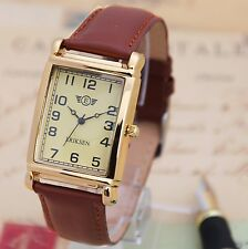 Mans Gold Rectangular Vintage retro Dress Watch Plain Brown Leather Strap