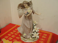 "VINTAGE X-LARGE 12"" PORCELAIN ANGEL FIGURINE MATTE FINISH LILLY FLOWERS - Mint"