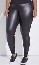 New LIVI ACTIVE Wicking Legging w Faux Leather Panels Black Plus Sz 22/24 3x