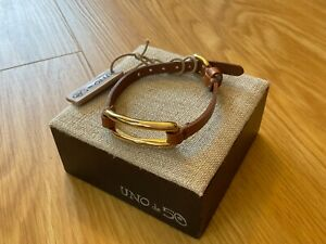 """NWT Uno de 50 Gold-plated/Tan Leather Thin Bracelet  """"Tie Me"""""""