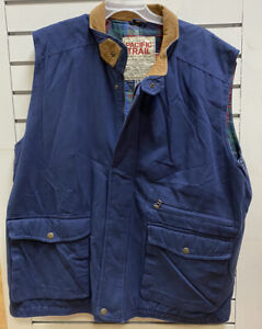 Vintage PACIFIC TRAIL Mens 2X VEST Flannel Lined Fishing Sportswear Hiking Blue