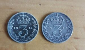1911 and 1912 Solid Sterling Silver Threepence George V UK Great Britain