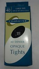 Character 40 denier Navy blue opaque nylon tights Size Large